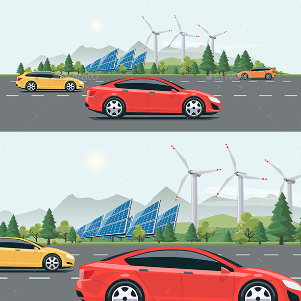 Urban Landscape Street Road with Electric Cars Nature Background - Technology Conceptual