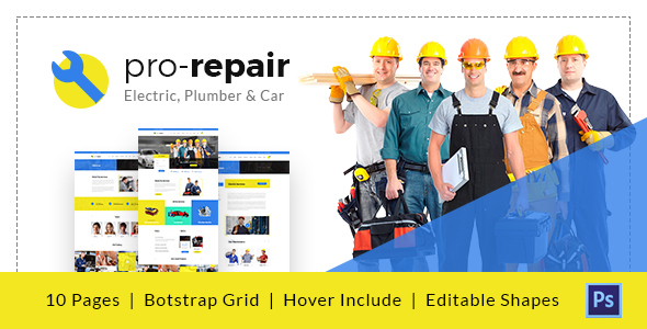 Pro Repair – Electric, Plumber and Car Service PSD Template