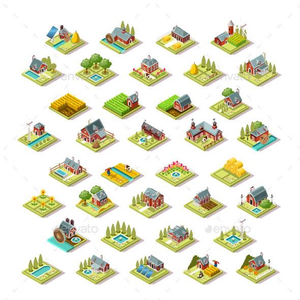 Isometric Building City Map Farm Icon Set Vector Illustration - Buildings Objects