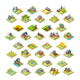 Isometric Building City Map Farm Icon Set Vector Illustration - GraphicRiver Item for Sale