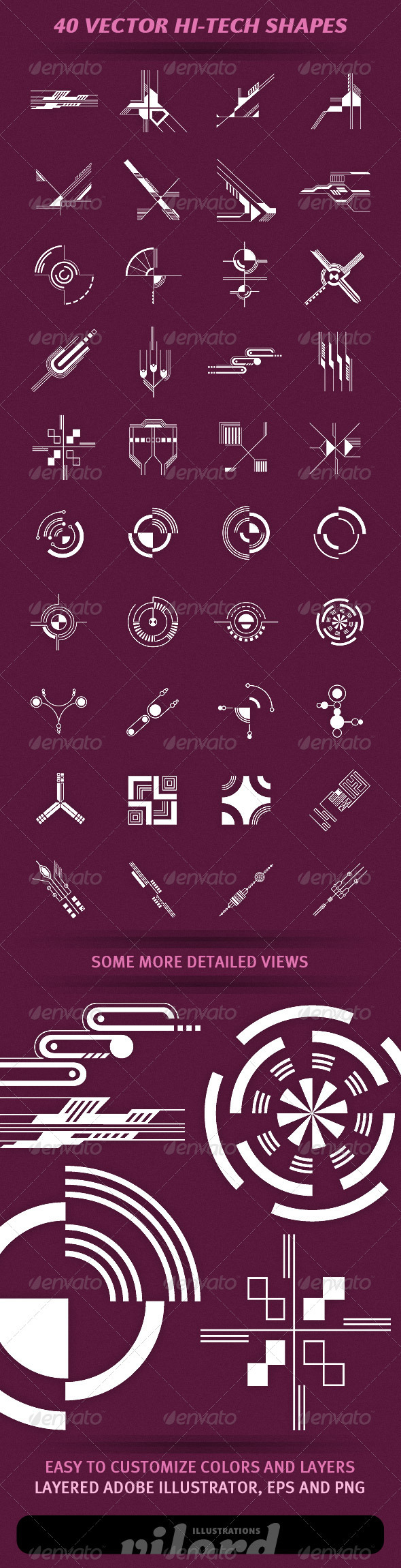 40 Vector Hi-Tech Shapes - Decorative Symbols Decorative