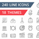 240 Line Icons - GraphicRiver Item for Sale