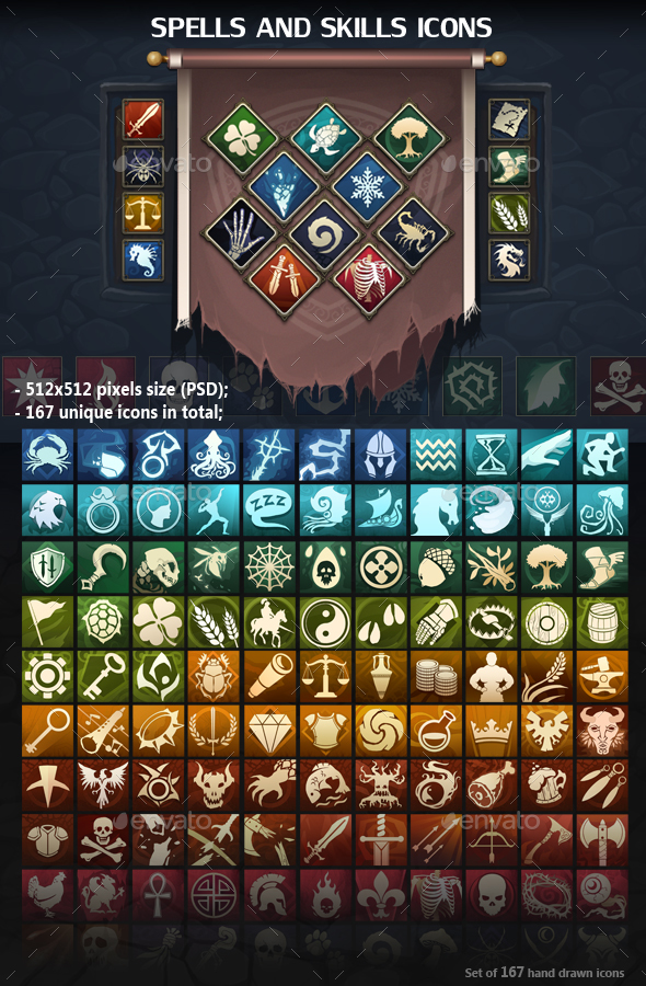 Spells and Skills Icons - Miscellaneous Game Assets