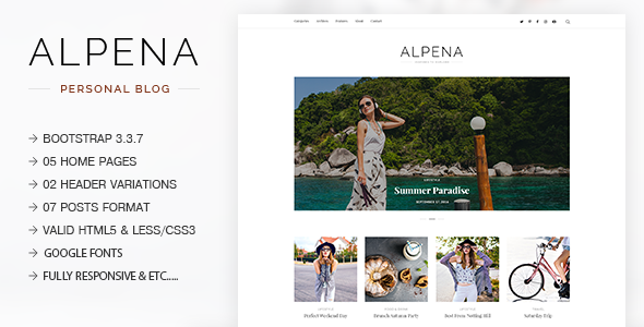 Alpena – Fashion, Lifestyle, Traveler & Storyteller Responsive Blogging Template