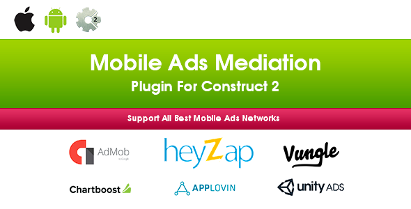 Mobile Ads Mediation Plugin For Construct 2 (Heyzap, Admob, Applovin, Chartboost, Unity Ads, Vungle) - CodeCanyon Item for Sale