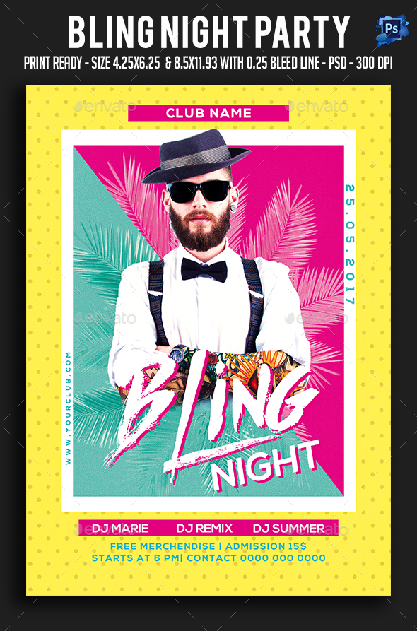 Bling Night Party Flyer - Clubs & Parties Events