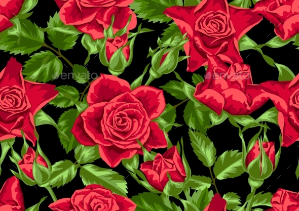 Seamless Pattern with Red Roses - Flowers & Plants Nature