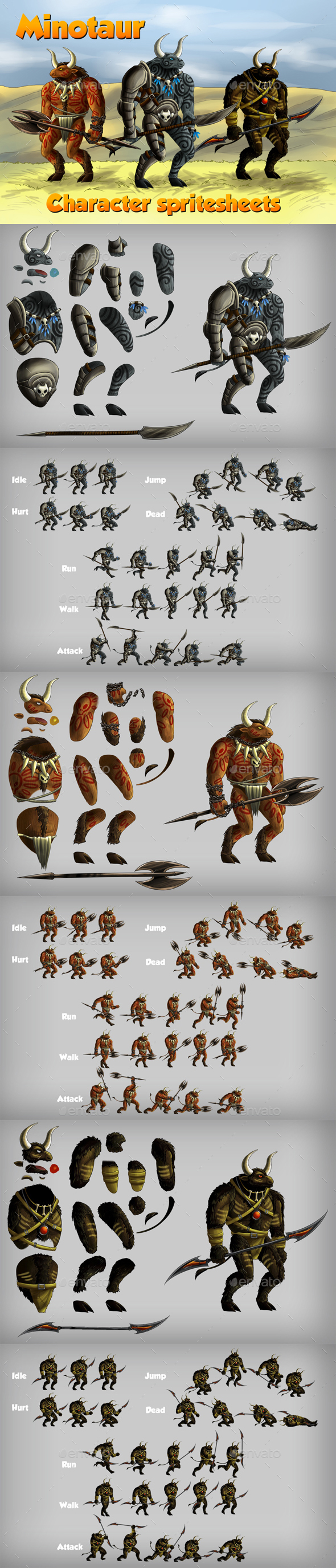 2D Game Minotaur Character Spritesheet - Sprites Game Assets