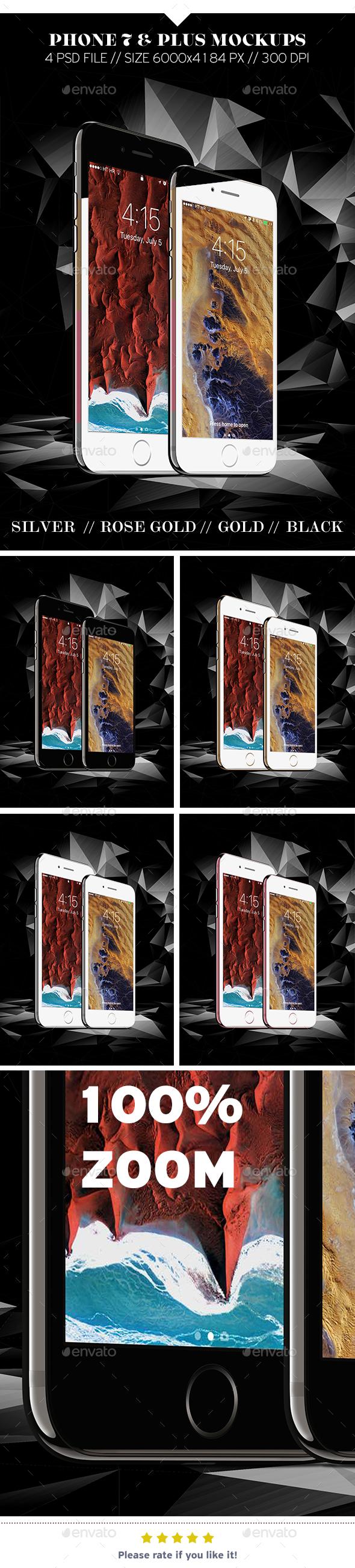 Phone 7 & Plus Mockups - Mobile Displays