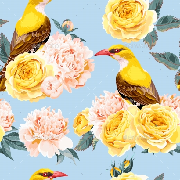 Roses and Birds Seamless - Flowers & Plants Nature