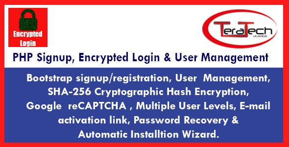 PHP Signup, Encrypted Login & User Management - CodeCanyon Item for Sale