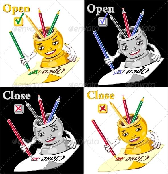 Cartoon  glass for pen or pencil checking  open  - Web Technology