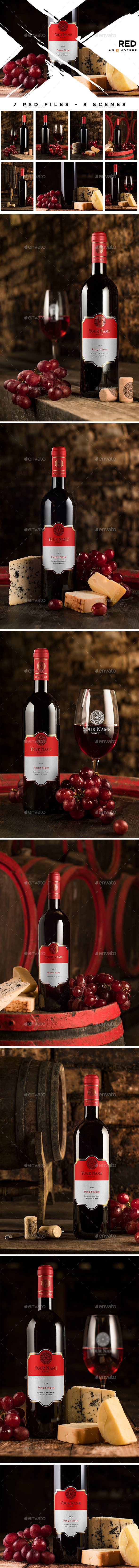 Cellar Wine Mockup - Red Wine - Product Mock-Ups Graphics