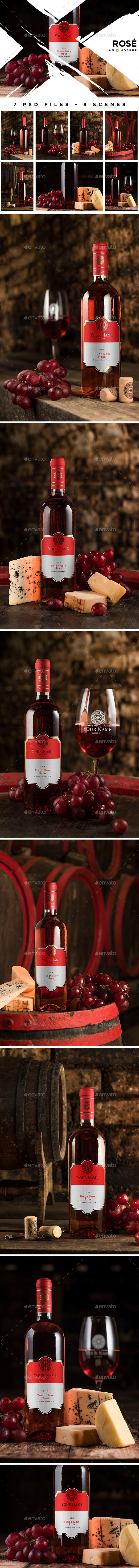 Cellar Wine Mockup - Rose Wine - Product Mock-Ups Graphics