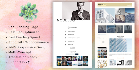 MooBlog –  A SEO Optimized Simple and Elegant Blog Theme Featured with Cool Landing Pages