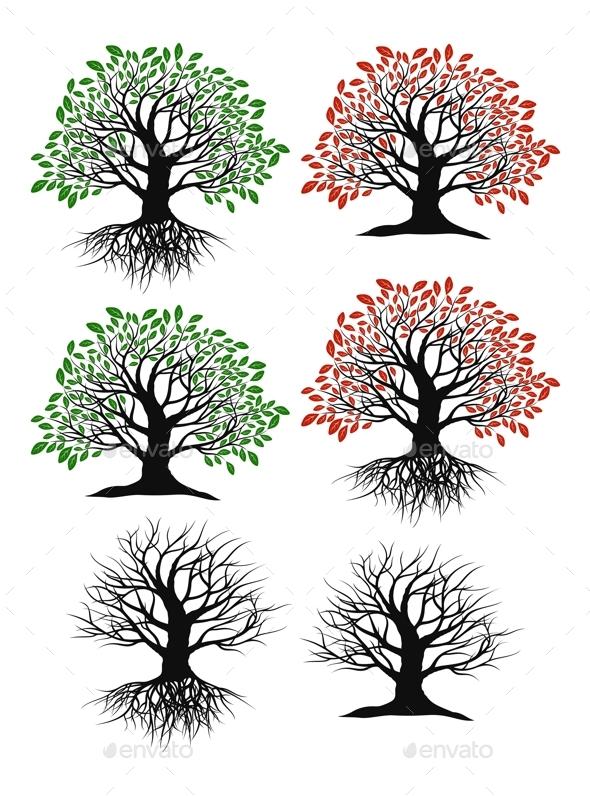 Set of Trees - Flowers & Plants Nature
