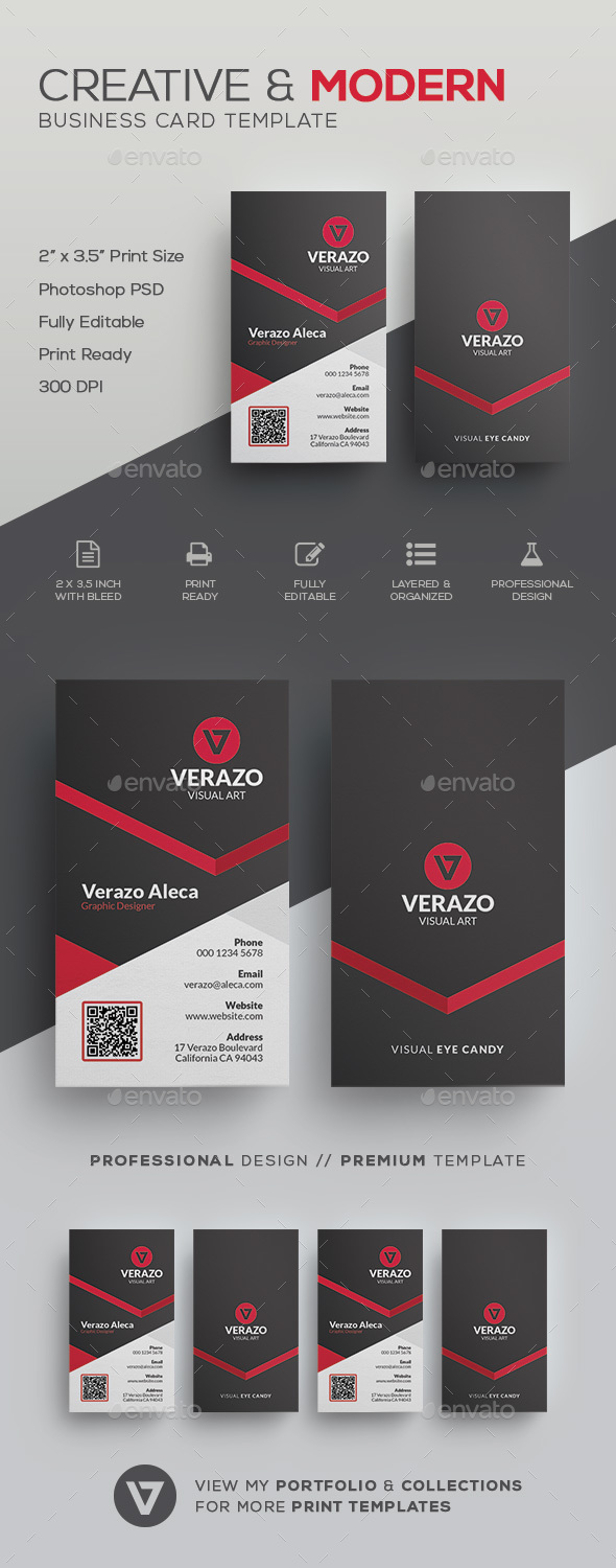 Creative modern business card template by verazo graphicriver creative modern business card template corporate business cards reheart Gallery