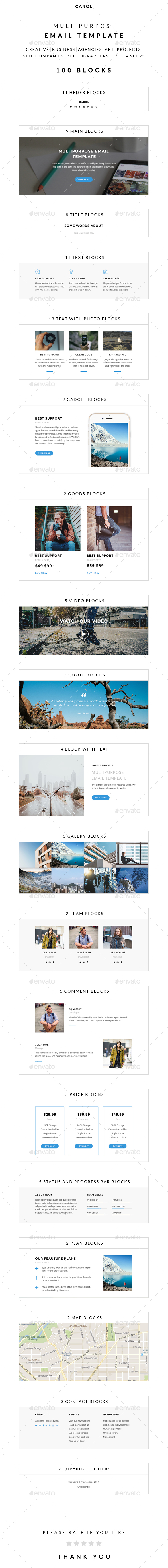 Carol – Multipurpose Email Template - E-newsletters Web Elements