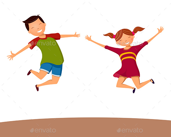 Boy and Girl Happily Jumping - People Characters