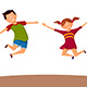 Boy and Girl Happily Jumping - GraphicRiver Item for Sale