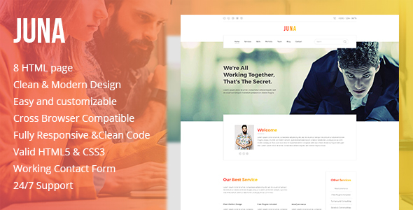 JUNA – Clean HTML5 Template