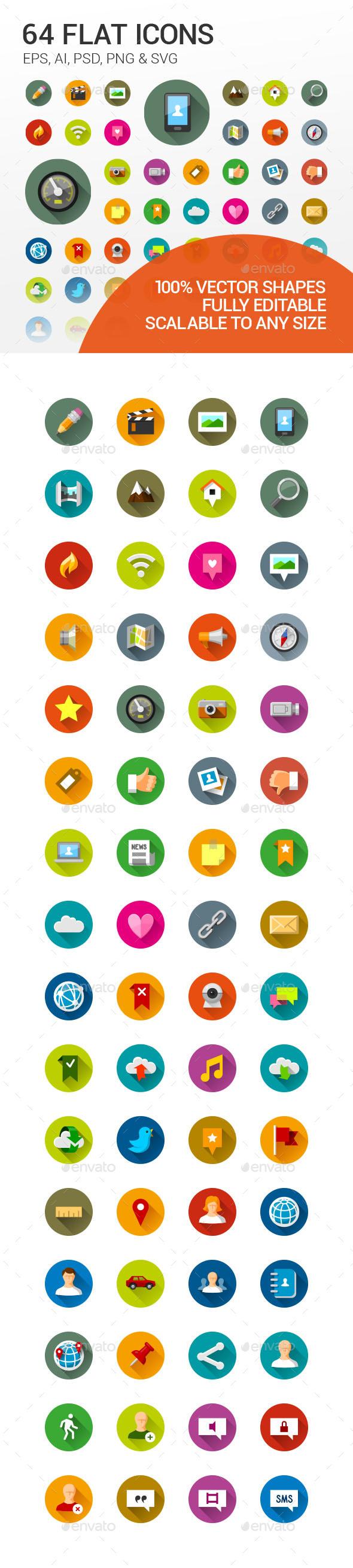 64 Flat Icons - Icons