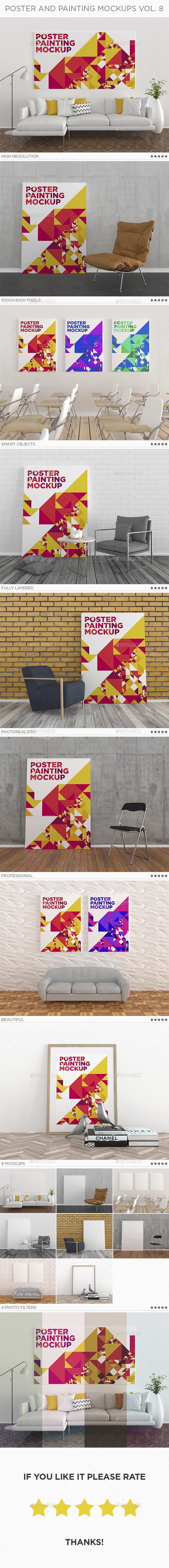 Poster Painting Mockup Vol. 8 - Print Product Mock-Ups