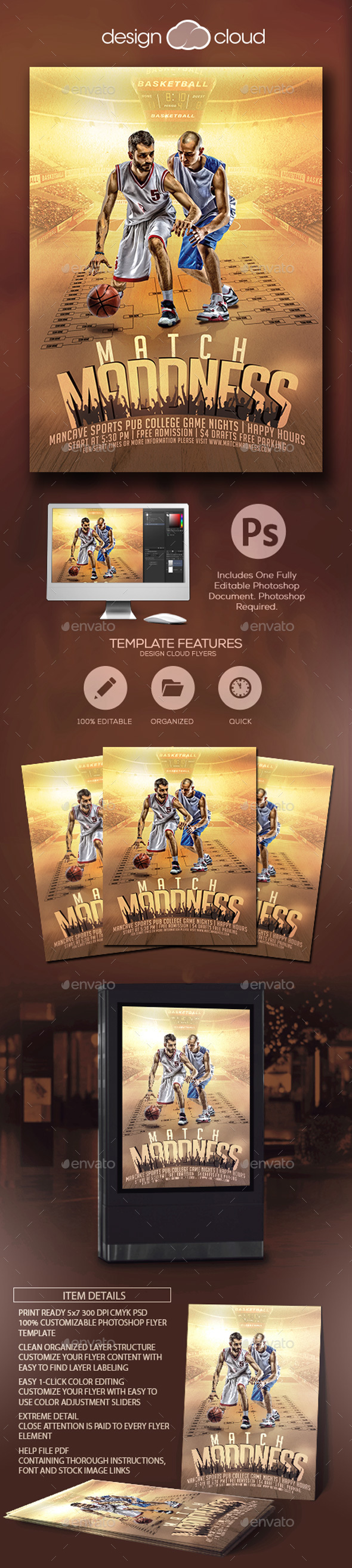 Match Madness Basketball Flyer Template - Sports Events