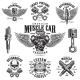 Set of Vintage Monochrome Car Repair Emblems - GraphicRiver Item for Sale