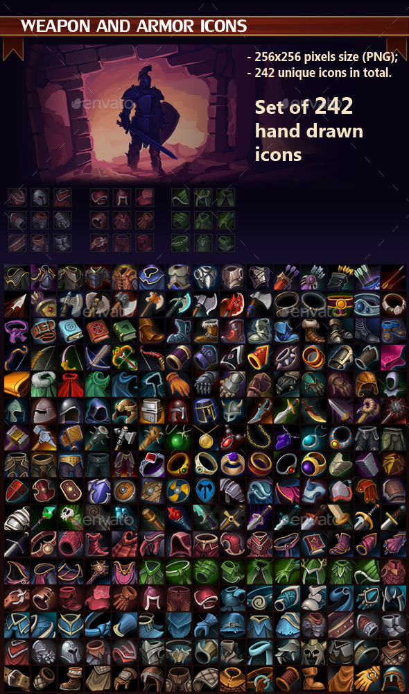 Weapon and Armor Icon Pack - Miscellaneous Game Assets