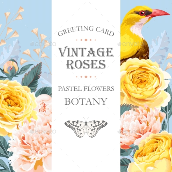Vintage Card with Roses and Bird - Flowers & Plants Nature