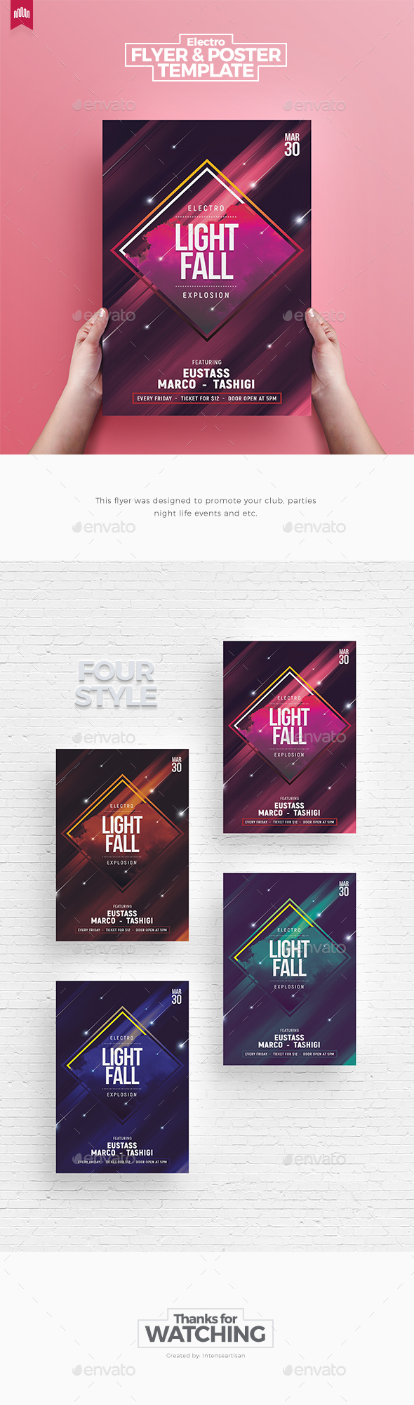 Electro Light Fall - Flyer Template - Clubs & Parties Events