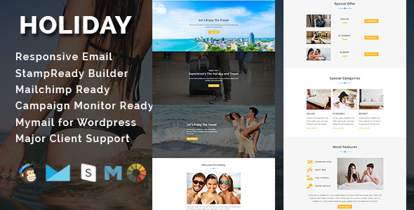 Image of HOLIDAY - Responsive Email Template With Stamp Ready Builder Access
