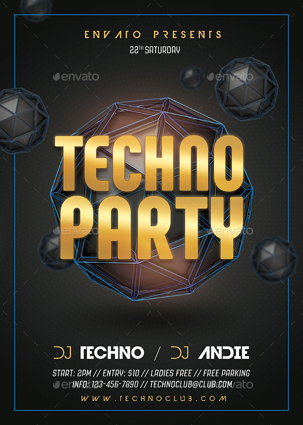 Techno Party Flyer By Rafiqfarzali | Graphicriver