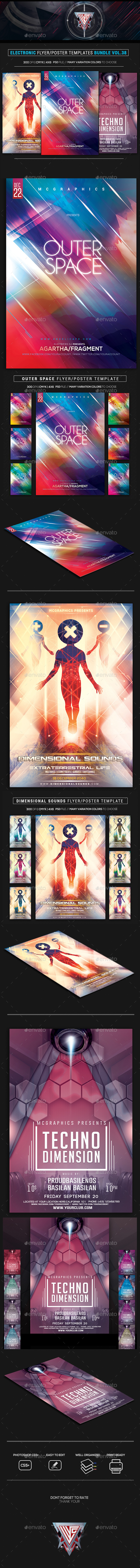 Electro Music Flyer Bundle Vol. 38 - Events Flyers