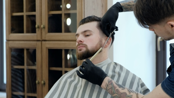 VideoHive Master Cuts Hair and Beard in the Barber Shop Cut a Beard with Scissors 19620259