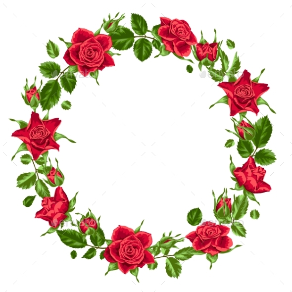 Decorative Wreath with Red Roses - Flowers & Plants Nature
