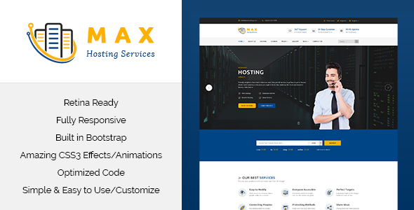 Max Hosting - Responsive Hosting HTML Template - Business Corporate