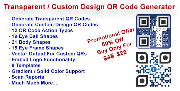 Transparent & Custom Design QR Code Generator - CodeCanyon Item for Sale