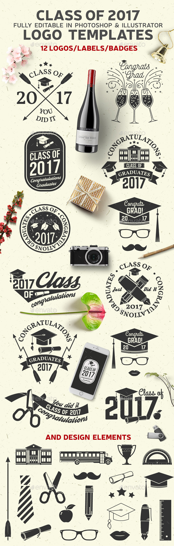 Class Of 2017 - Badges & Stickers Web Elements