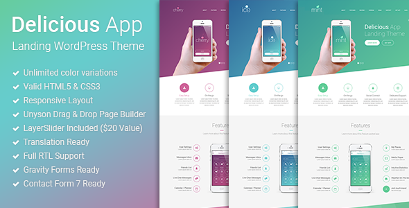 Delicious - Responsive App Landing WordPress Theme - Software Technology