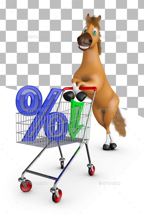 Horse with Trolley and Percent - Characters 3D Renders