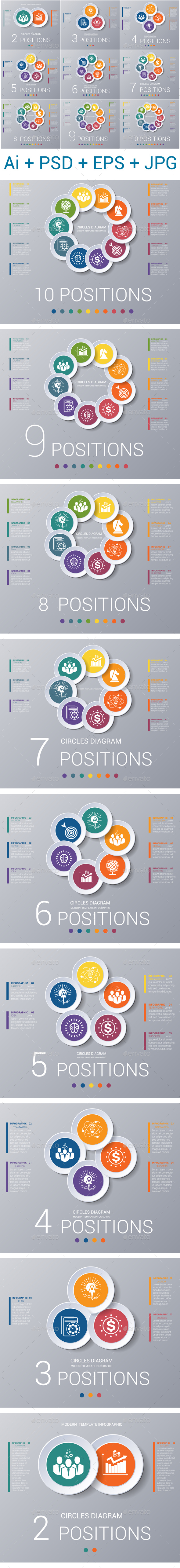 Circles diagram, data Elements For Template infographics 2,3,4,5,6,7,8,9,10 positions. - Infographics