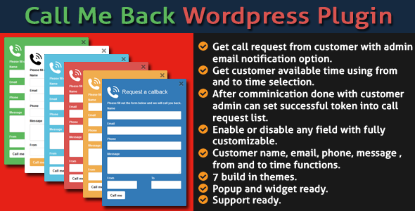 Call Me Back WordPress Plugin - CodeCanyon Item for Sale