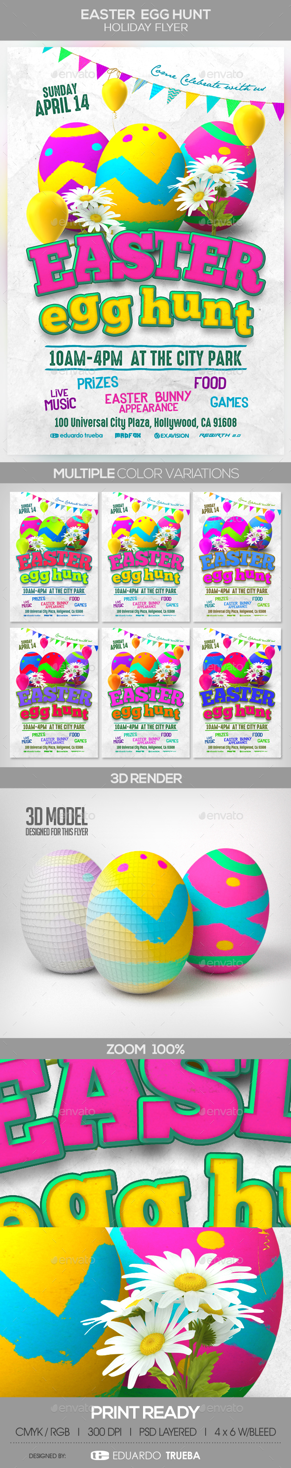 Easter Egg Hunt Holiday Flyer - Events Flyers