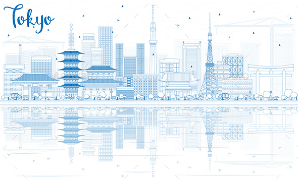 Outline Tokyo Skyline with Blue Buildings and Reflections - Buildings Objects