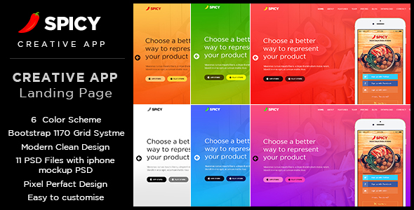 Spicy restaurant cafe app landing page psd template by