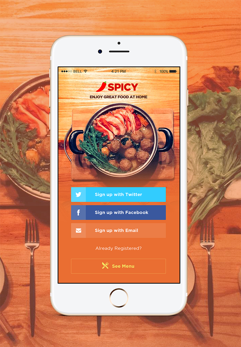 Spicy Restaurant & Cafe App Landing Page PSD Template by ReloadWeb