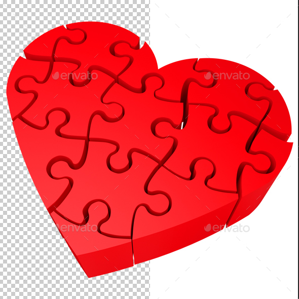 Heart Jigsaw - Objects 3D Renders