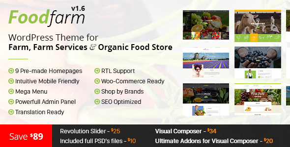 FoodFarm – WordPress Theme for Farm, Farm Services and Organic Food Store - Food Retail